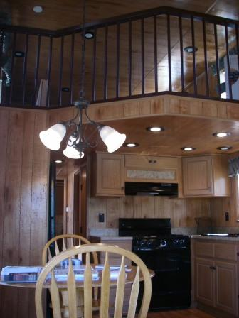 log cabin type mobile home interior