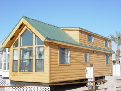 Small Mobile Houses rear view Log Cabin Park Model