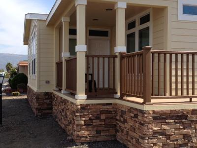 Manufactured home stairs and porch for Wooden porches for mobile homes